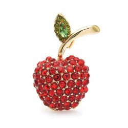 Red cherry with crystals - brooch