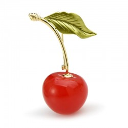 Enameled cherry with a leaf - brooch