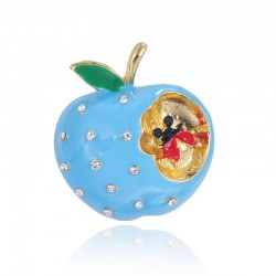 Blue bitten apple with crystals - brooch