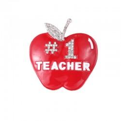 Number 1 Teacher / apple - crystal brooch