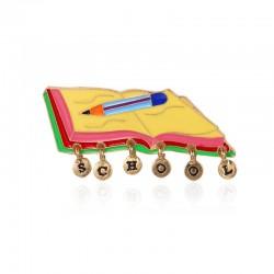 School / notebook / pen - brooch