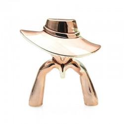 Lady figure wearing hat - brooch