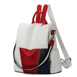 Leather backpack - shoulder bag - with openable back pocket