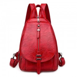 Trendy backpack - front zippers / buckle - wax leather