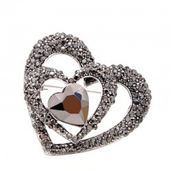 Black heart shaped brooch - with crystal