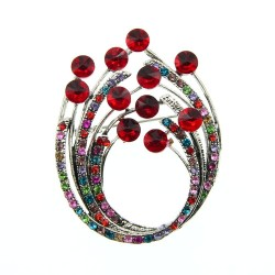Vintage flower brooch - with colorful crystals