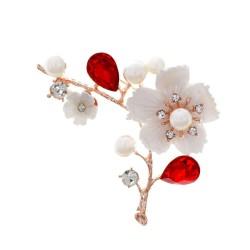 Flower / pearl / shell / bird - crystal brooch