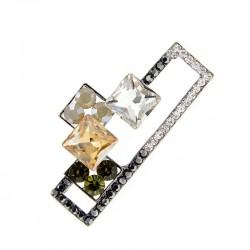 Vintage geometric crystal brooch