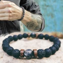 Tibetan Buddha bracelet - moonstone / lava beads - unisex