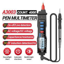 A3003 - digital multimeter - pen type meter - 4000 counts - non contact AC / DC / Hz / Voltage resistance tester - LCD