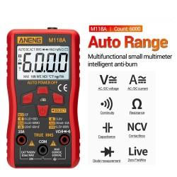 M118A - digital multimeter - mini tester - 6000 counts - true RMS - NCV - with flashlight