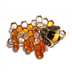 Honeybee on hive - rhinestone brooch