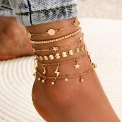 Vintage gold anklet - leg bracelet - butterfly / angel / heart