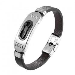 Retro scorpion bracelet - leather - stainless steel