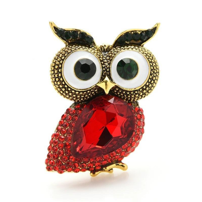 Big eyes owl - crystal brooch
