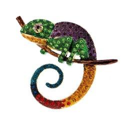 Crystal chameleon / lizard - elegant brooch