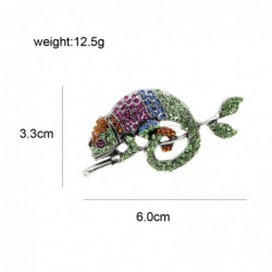Trendy brooch with crystal chameleon / lizard