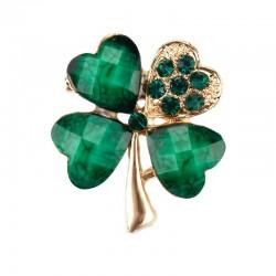 Multicoloured four leaf clover - crystal brooch