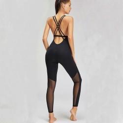 Sport mesh bodysuit - with spaghetti straps - for gym / yoga / fitness