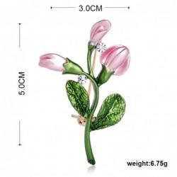 Exquisite pink tulip - crystal brooch