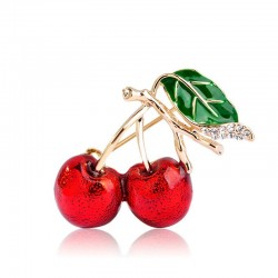 Elegant brooch with a red crystal cherry