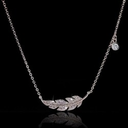 Necklace with silver feather / zircon - 925 sterling silver