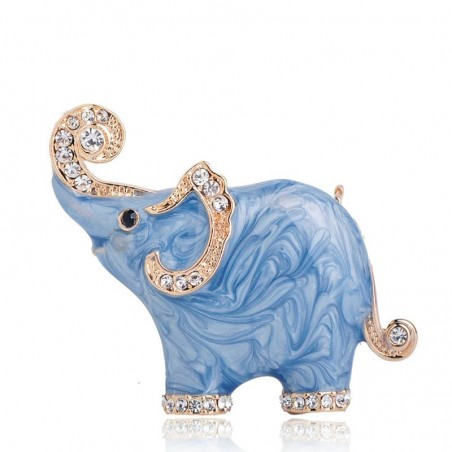 Blue elephant shaped brooch - with crystals