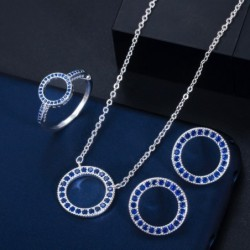 Classic round jewelry set - necklace / earrings / ring - with cubic zirconia