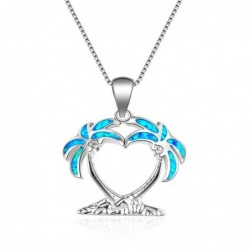 Coconut tree pendant - with blue opal - necklace