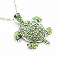 Vintage necklace with rhinestone turtle