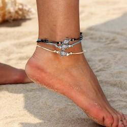 Vintage gold /silver anklet bracelet - elephant / turtle / beads
