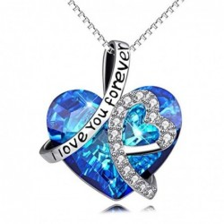 """Ocean crystal heart pendant - with necklace - """"I Love You Forever"""""""