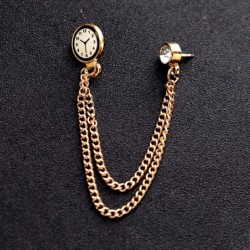 Brooch with a Korean trend - pin with a watch and a chain