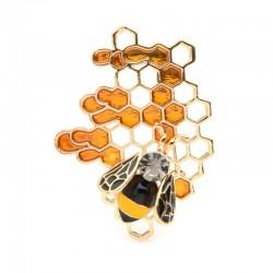 Enamel bee / honeycomb - elegant brooch