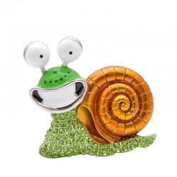 Smiling crystal snail - brooch