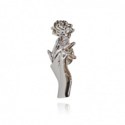 Silver brooch with a hand holding rose - pin