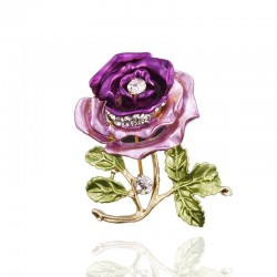 Crystal double color rose with crystal - brooch