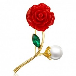 Red rose with pearl / crystal leaf - brooch