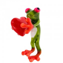 Green frog with a red heart - brooch