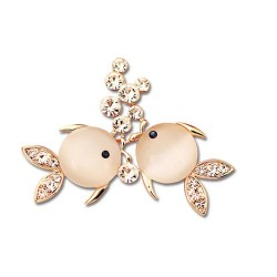 Two fishes with crystals - brooch