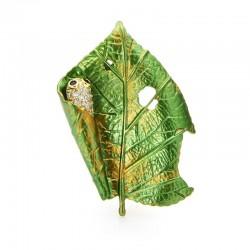 Leaf with a silkworm - crystal brooch
