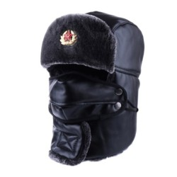 Warm winter leather hat - with neck / face cover / ear flaps - Russian / Soviet badge