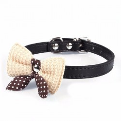 Leather Dog Puppy Pet Collars Knit Bowknot Necklace*