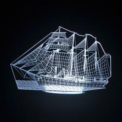 3D Ship Acrylic Optical LED Night Light