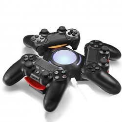 Sony Playstation 4 PS4 Dualshock 4 Controller Triangle Triple Port LED Light USB Charging Dock