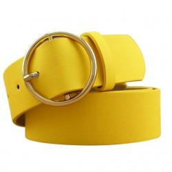 Gold Buckle Leather Strap Belt