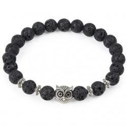 Tiger Lion Head Natural Stone Beads Bracelet Unisex