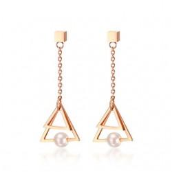 Triangle Pearl Drop Earrings
