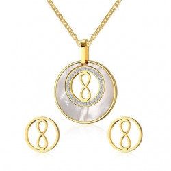 Round Pearl & Gold Jewellery Set
