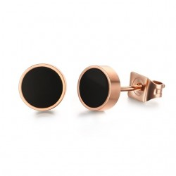 Black & White Rose Gold Stud Earrings